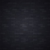 Black brick wall pattern background surface, vector illustration. Stone block structure brickwall, urban design wallpaper