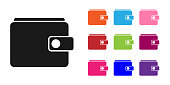 Black Wallet icon isolated on white background. Purse icon. Cash savings symbol. Set icons colorful. Vector Illustration