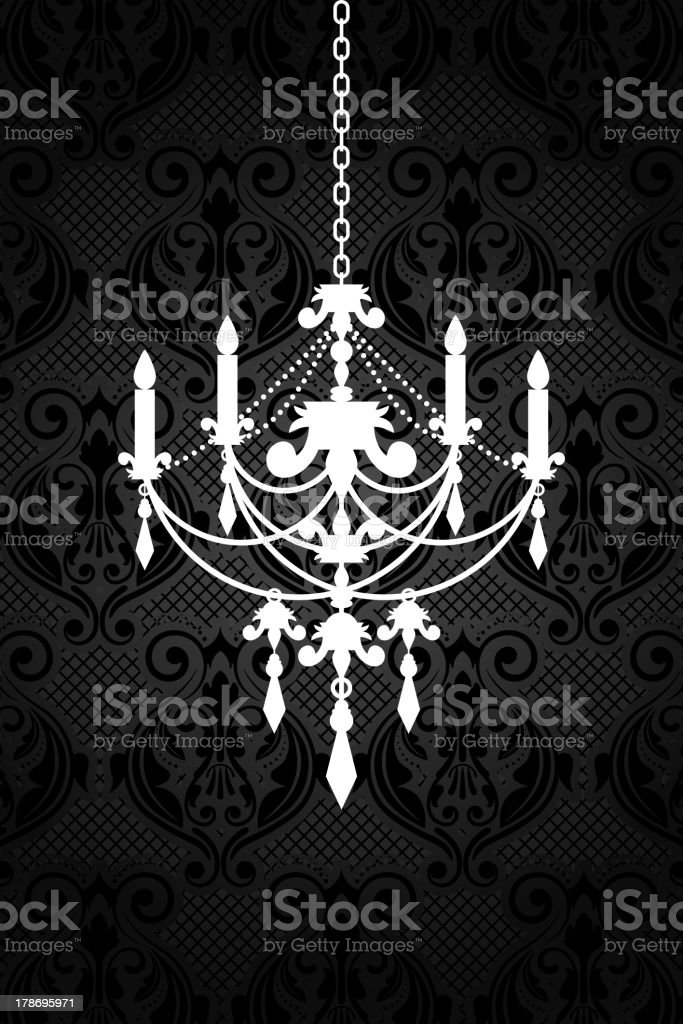 black wallpaper with chandelier vector art illustration