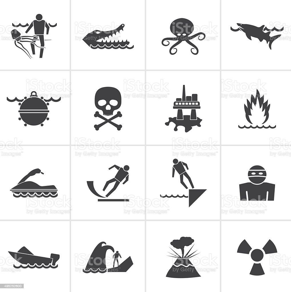 Black Warning Signs for dangers in sea, ocean vector art illustration