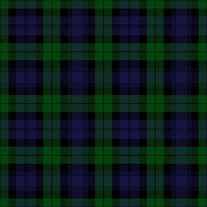 Black Watch Tartan Plaid. Royal Regiment of Scotland textile pattern.