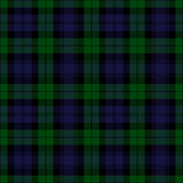Black Watch Tartan Plaid. Royal Regiment of Scotland textile pattern. Black Watch tartan plaid. Royal Regiment of Scotland textile pattern. tartan pattern stock illustrations