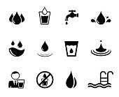 set of isolated black water concept icons