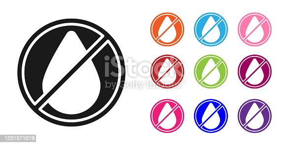 Black Water drop forbidden icon isolated on white background. No water sign. Set icons colorful. Vector Illustration