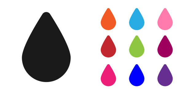 Black Water drop icon isolated on white background. Set icons colorful. Vector Illustration Black Water drop icon isolated on white background. Set icons colorful. Vector Illustration teardrop stock illustrations