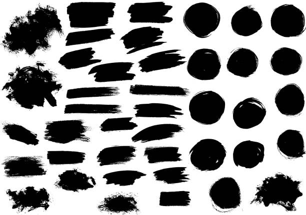 stockillustraties, clipart, cartoons en iconen met black watercolor paint marker vector strokes blobs - bevlekt