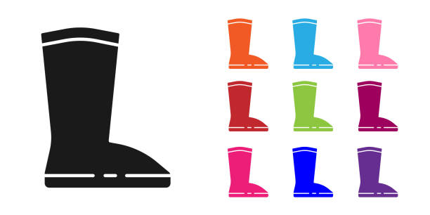 ilustrações de stock, clip art, desenhos animados e ícones de black waterproof rubber boot icon isolated on white background. gumboots for rainy weather, fishing, gardening. set icons colorful. vector illustration - wellington