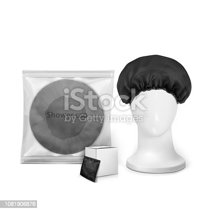 Black waterproof shower cap in transparent package with small box and shower cap on the manekenium head