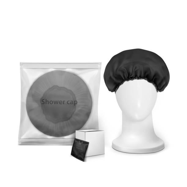schwarze wasserdichte duschhaube in transparenten paket mit kleinen box und dusche kappe auf dem kopf manekenium - hauben stock-grafiken, -clipart, -cartoons und -symbole