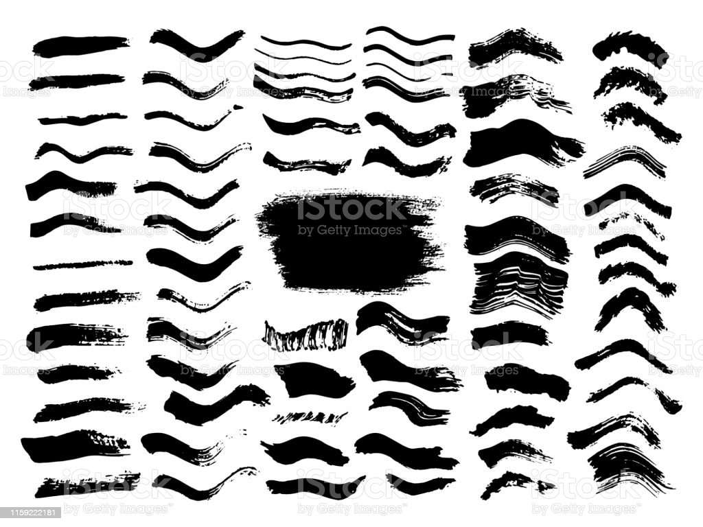 Black wave dirty brush strokes set. Black labels, background, paint...