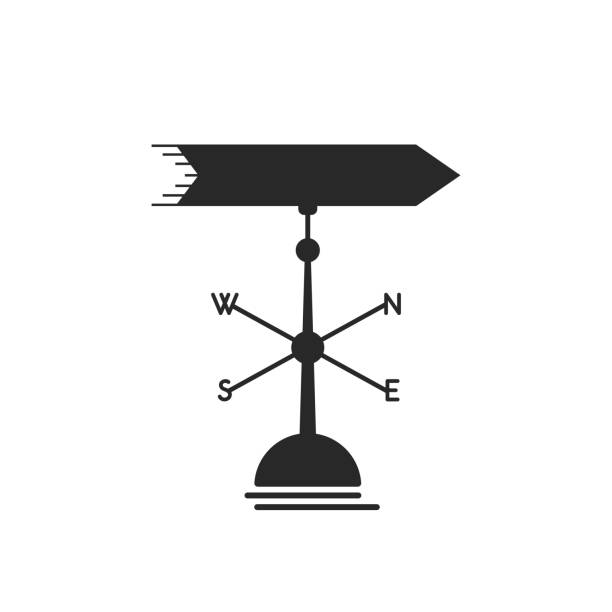 black weather vane icon black weather vane icon. concept of business metaphor, discovery new horizon, fair wind, windy, breeze, directing. isolated on white background. flat style trend modern design vector illustration weather vane stock illustrations