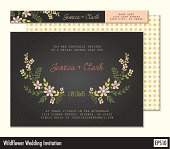 Black wedding invitation with wildflowers