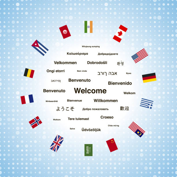 illustrazioni stock, clip art, cartoni animati e icone di tendenza di black welcome phrases in different languages - spagnolo lingua