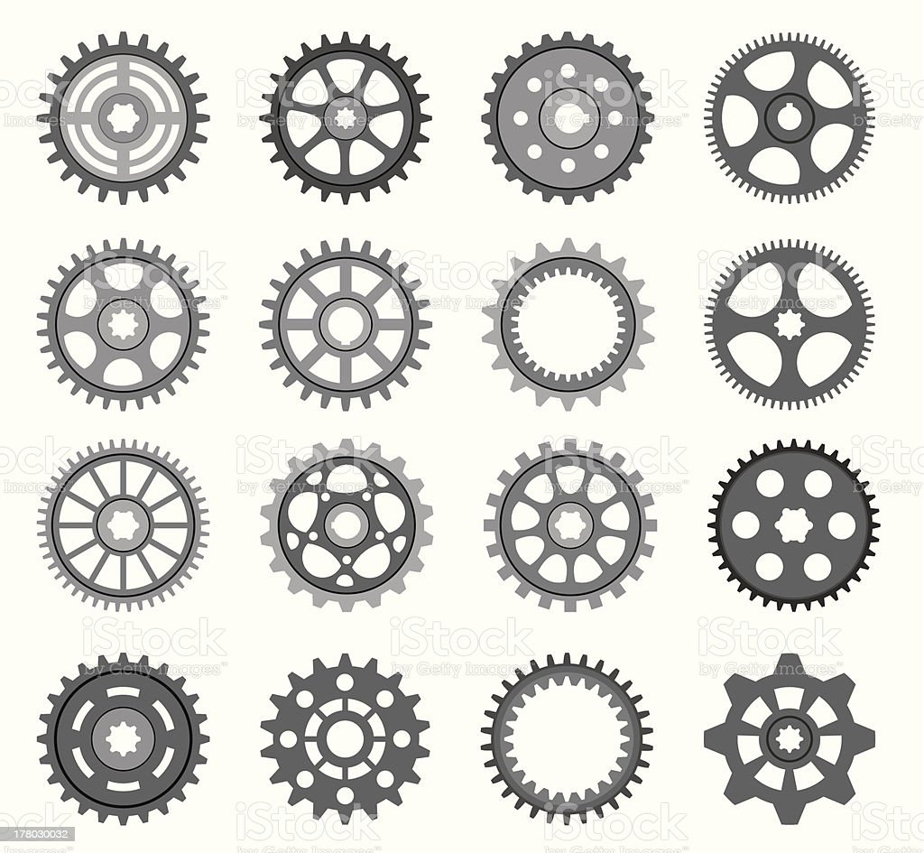 Black wheel icons on a cream background vector art illustration