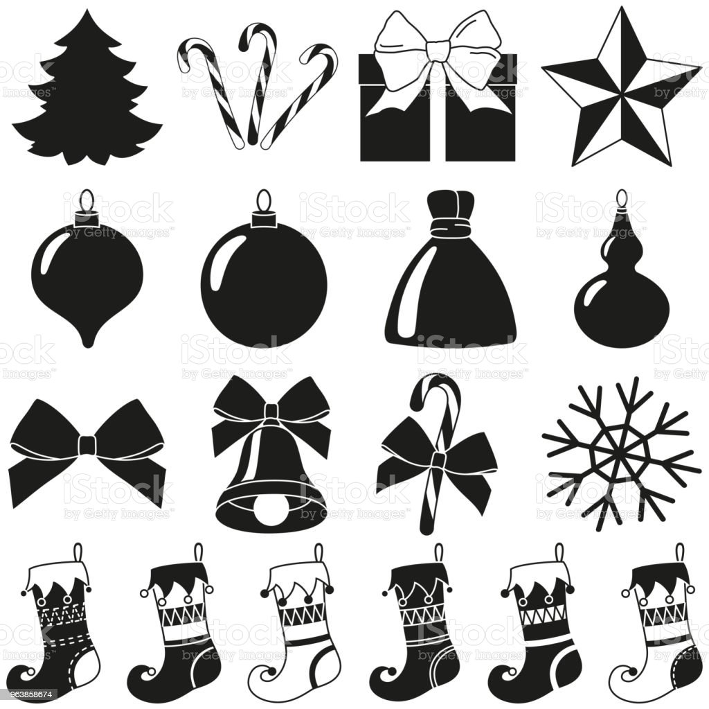 Black white 18 christmas elements silhouette set - Royalty-free 2019 stock vector