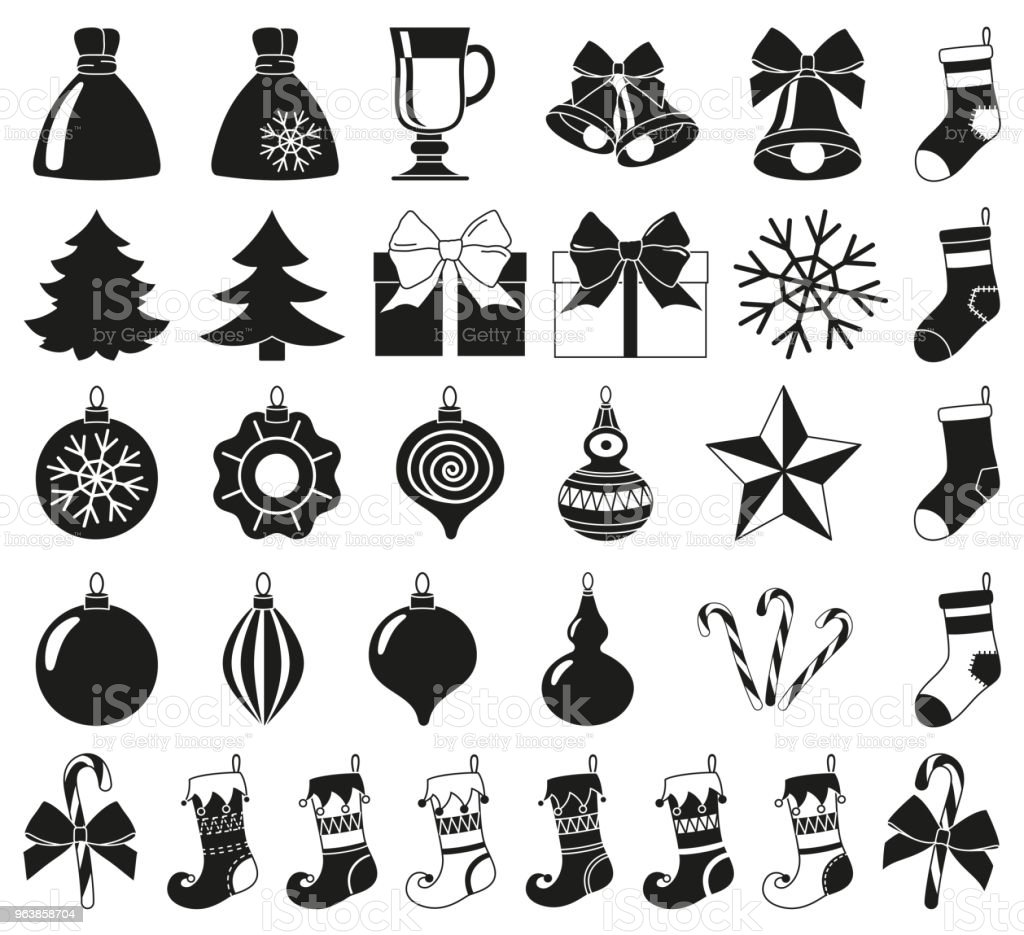 Black white 32 christmas elements silhouette set - Royalty-free 2019 stock vector