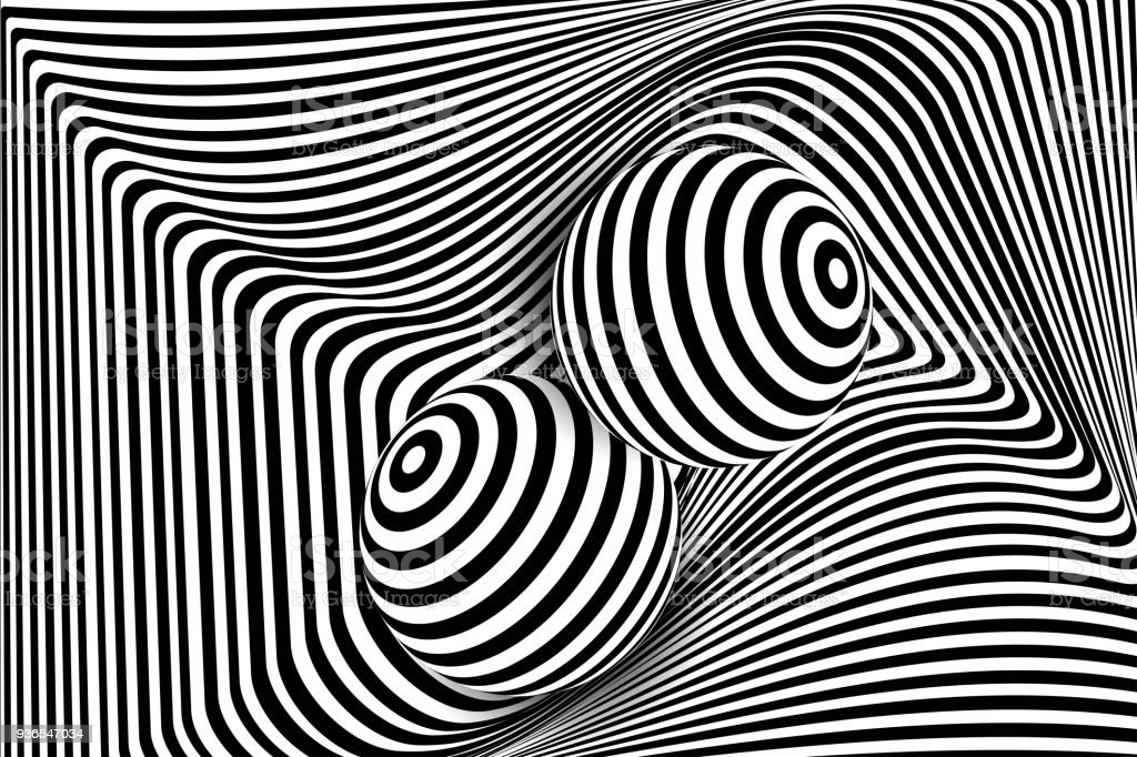 Black white 3d line distortion ball illusion royalty free black white 3d line distortion ball
