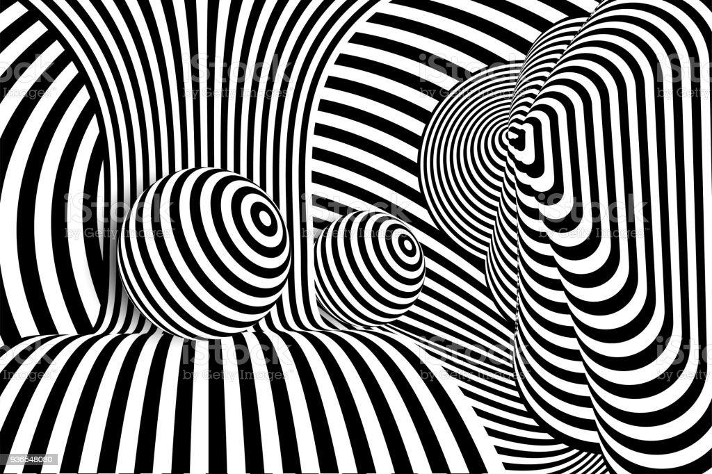 8dad6ba11b Negro 3d blanco línea ilusión de distorsión bola ilustración de negro 3d  blanco línea ilusión de