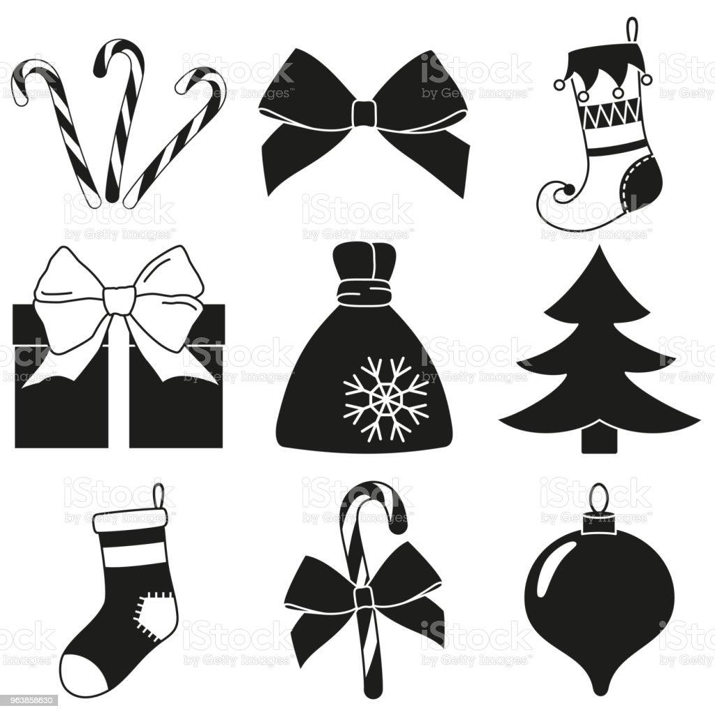 Schwarz Weiß 9 Weihnachten Elemente Silhouette Satz Stock Vektor Art ...