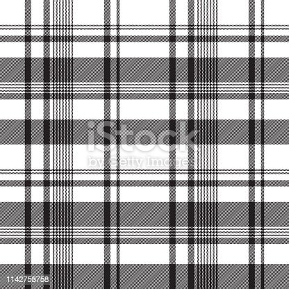 Black white abstract fabric texture seamless. Vector illustration.