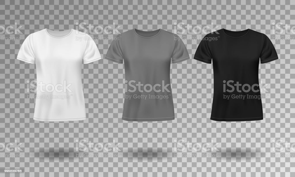 Black, white and gray realistic male t-shirt with short sleeves. Blank t-shirt template isolated. Cotton man shirt design. Vector illustration vector art illustration
