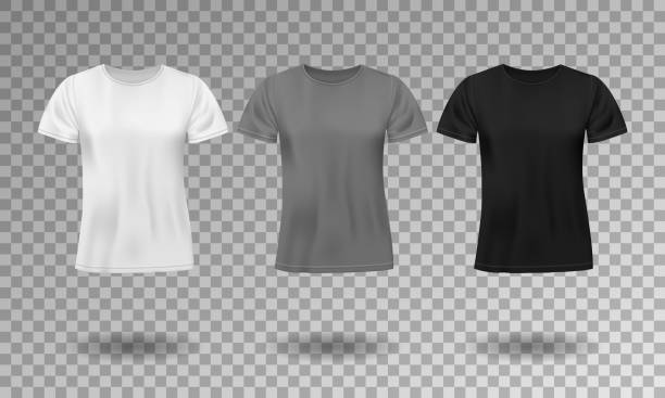 ilustrações de stock, clip art, desenhos animados e ícones de black, white and gray realistic male t-shirt with short sleeves. blank t-shirt template isolated. cotton man shirt design. vector illustration - teeshirt template