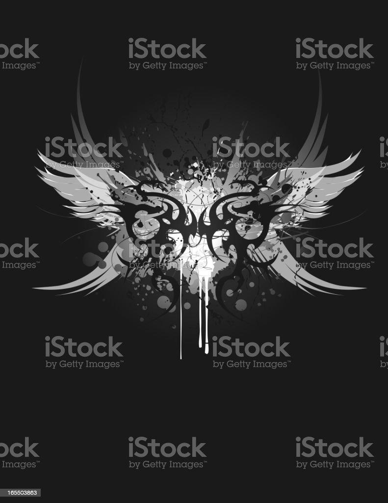 A black, white and gray tribal dragon design