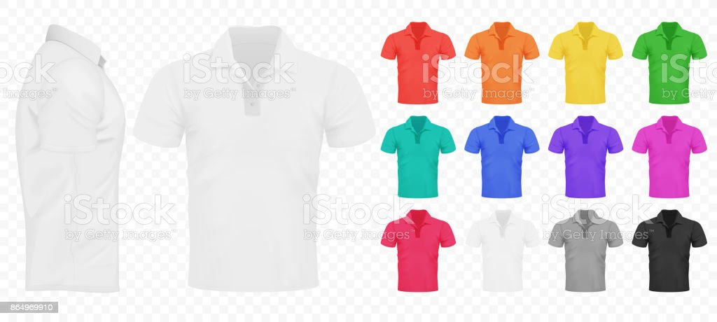 Black, white and other basic color men t-shirts set. Design template. Realistic Vector illustration on the transperant alpha background.