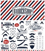 Black, white and red barber sign with retro barber symbols