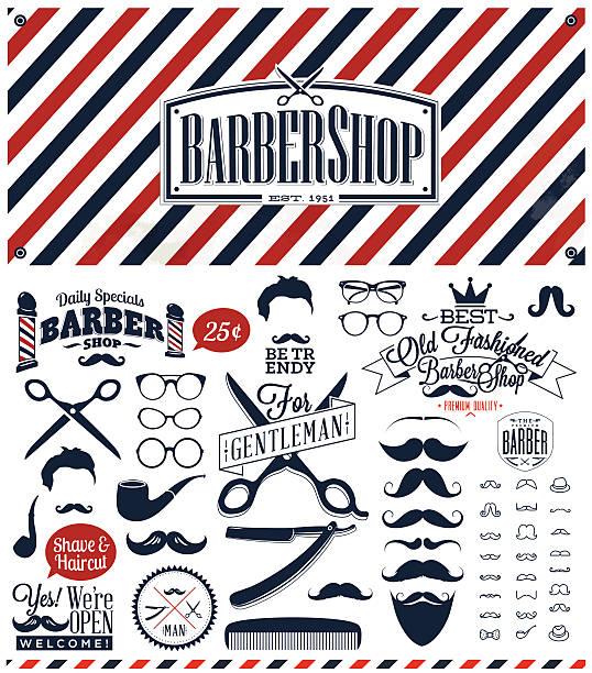 Black, white and red barber sign with retro barber symbols vector art illustration