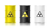 Black, white and yellow realistic barrel set with biohazard sign. Vector illustration.