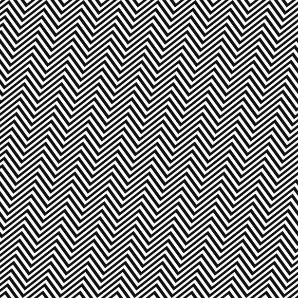 stockillustraties, clipart, cartoons en iconen met zwart witte hoekige naadloze zig zag lijnpatroon - herhaling begrippen