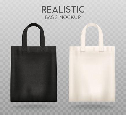 black white bags mockup transparent