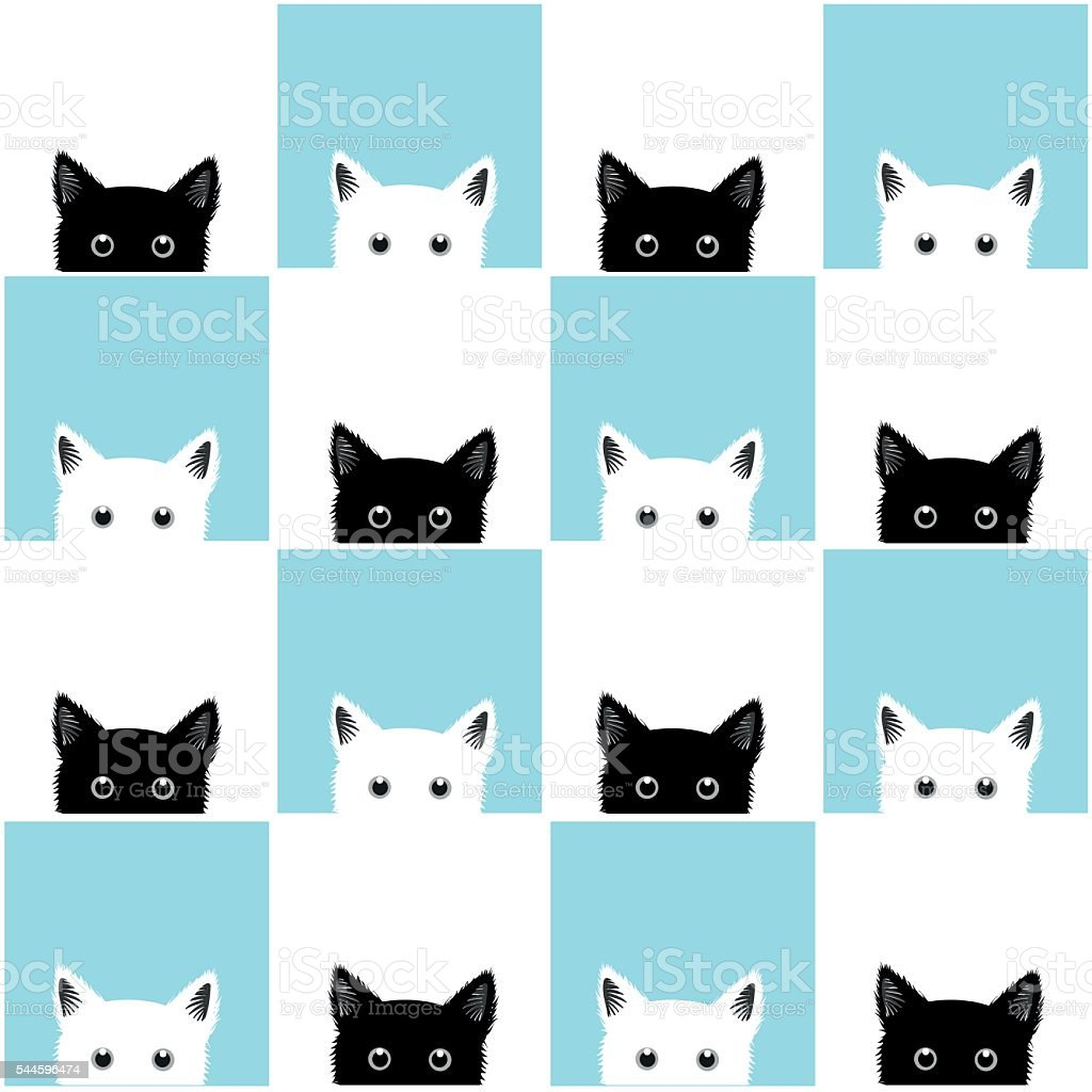 Black White Blue Cat Chess board Background vector art illustration