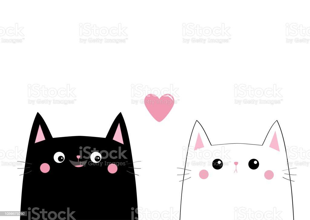 Tete De Face Noir Chat Blanc Couple De Lamour Coeur Rose Animaux De