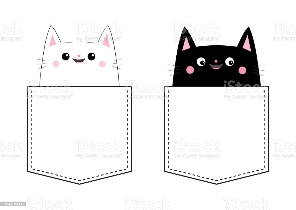 Black White Cat Set Love Couple In The Pocket Pink Cheek Cute Cartoon Pet Animals Kitten Kitty Character Dash Line Happy Valentines Day Tshirt Design Baby Background Isolated Flat Design Stock Illustration