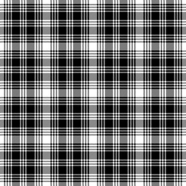 black white check plaid seamless pattern vector for classic everyday flannel shirt, blanket, tablecloth, or other textile design. striped texture. - mens fashion stock illustrations, clip art, cartoons, & icons