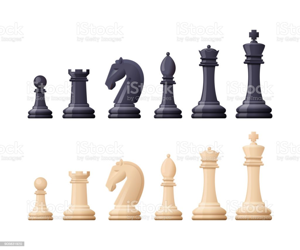 Black, white chess game pieces, figures. Logical tactical turn-based game vector art illustration