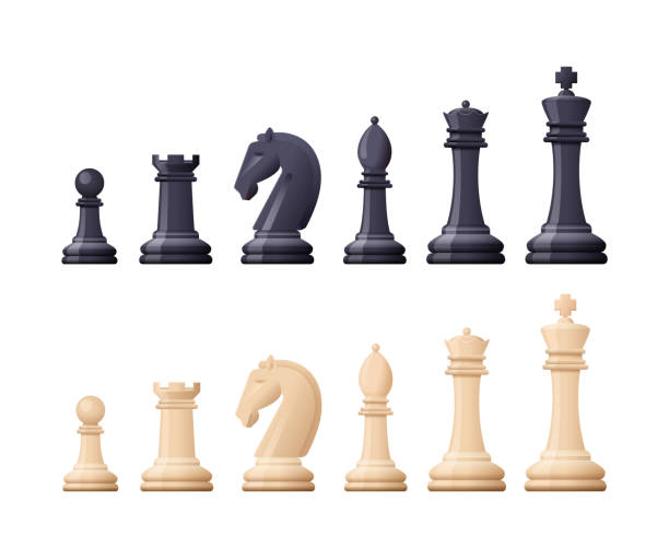 Black, white chess game pieces, figures. Logical tactical turn-based game Black and white chess game pieces, figures. Logical tactical turn-based game, chess tournament, sport game, hobby and interests, highly intellectual occupation. Vector illustration isolated. chess knight silhouette stock illustrations