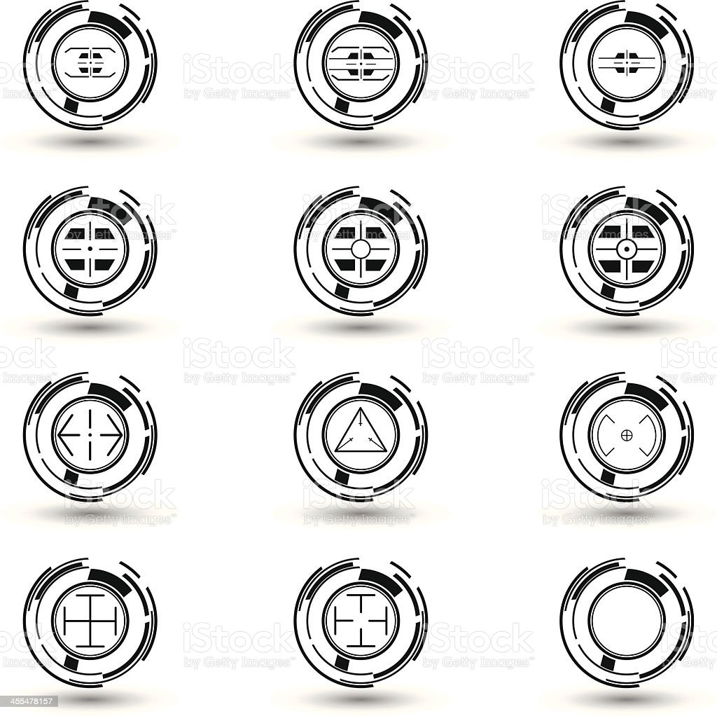 Black & white crosshairs set 3 royalty-free stock vector art