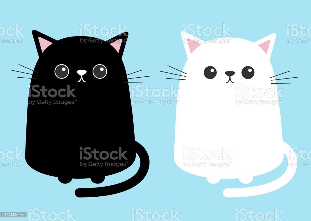 Chat Mignon Blanc Noir Assis Chaton Définie Personnage De Dessin Animé De Kitty Kawaii Animal Drôle De Tête Avec Moustaches Yeux Oreilles Nez Carte De