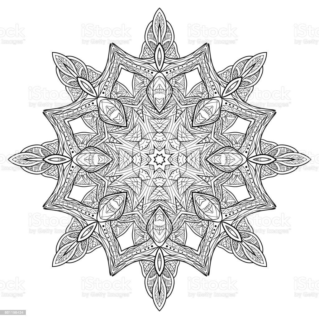 Kleurplaten Voor Volwassenen Mandela.Zwart Wit Doodle Circulaire Mandala Met Een Bohopatroon Kleurplaten