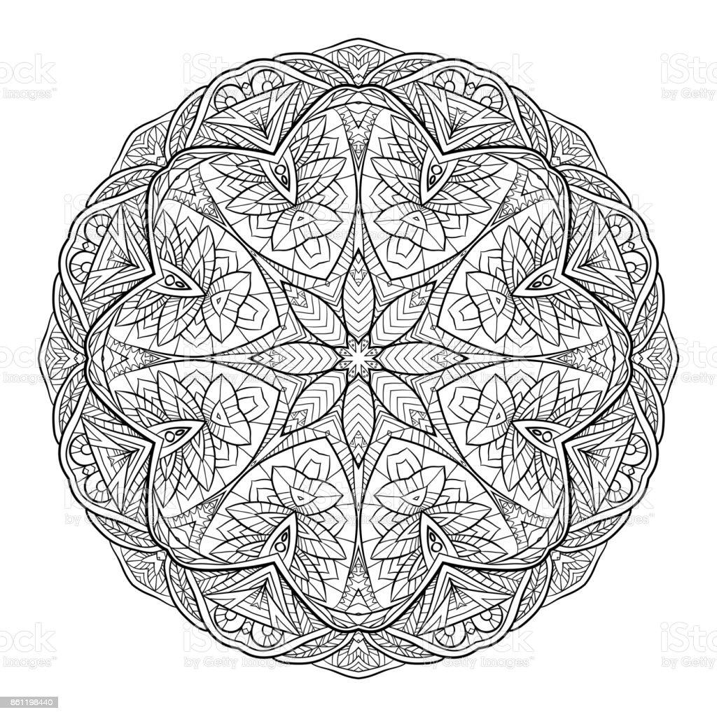 Schwarz Weiß Doodle Kreisförmige Mandala Mit Einem Bohomuster ...