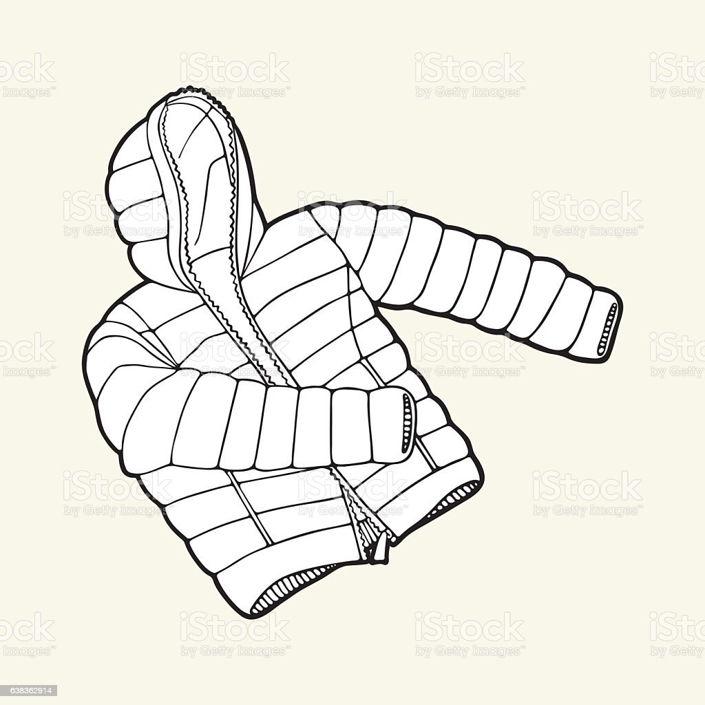 Black White Down Jacket stock vector art 638362914 | iStock
