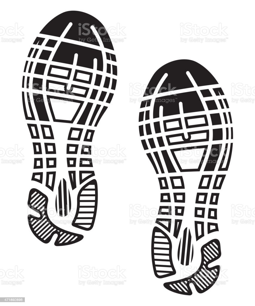 black white drawing of a pair of sole imprints stock