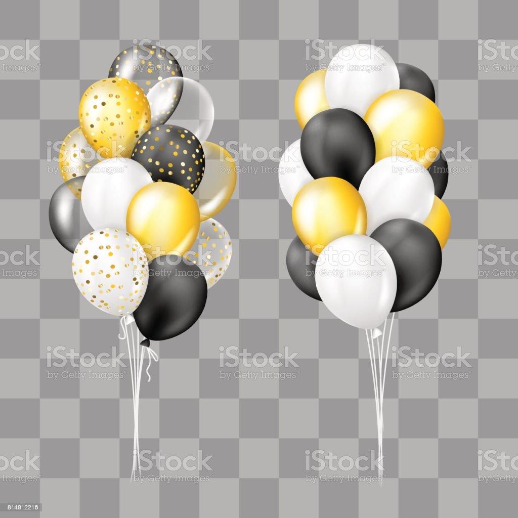 Noir Blanc Or Et Avec Collection De Ballons Confetti