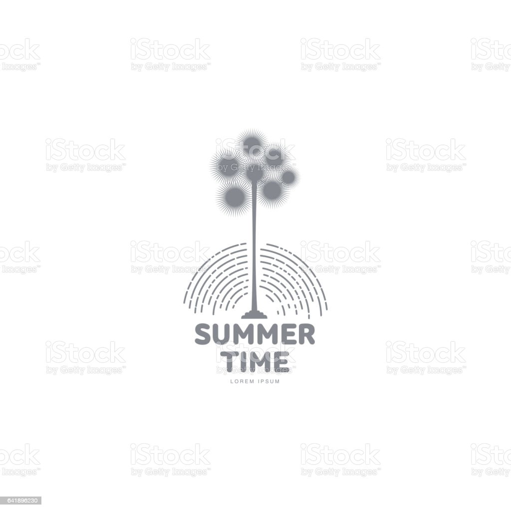 black white graphic template with stylized palm tree stock vector