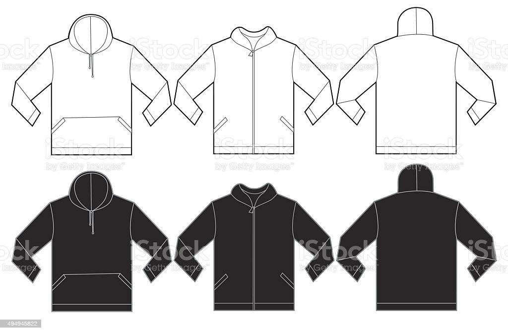 Schwarzweißhoodie Sweatshirtdesignvorlage Stock Vektor Art und mehr ...