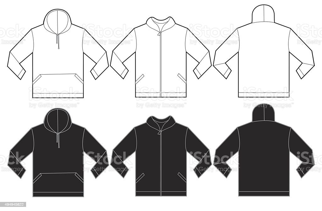 Black White Hoodie Sweatshirt Design Template vector art illustration