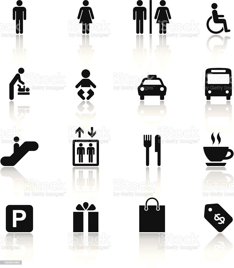 Black & White Icons Set | Shopping Mall vector art illustration